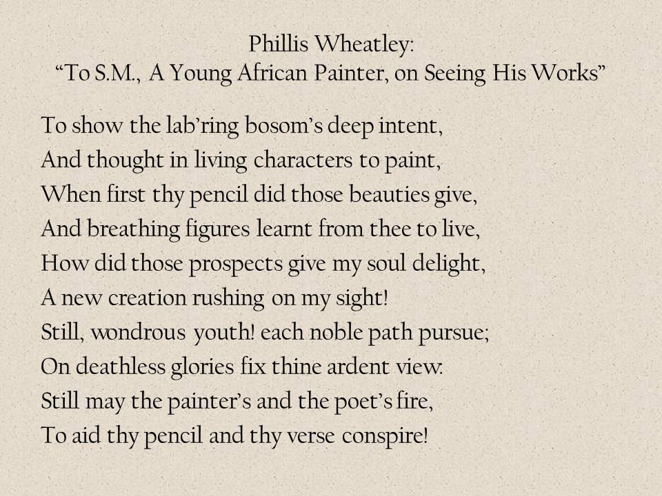 Phillis Wheatley: To S. M