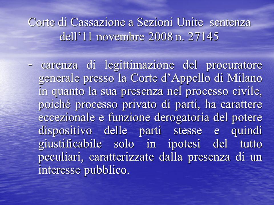 Corte di Cassazione a Sezioni Unite sentenza dell'11 novembre 2008 n