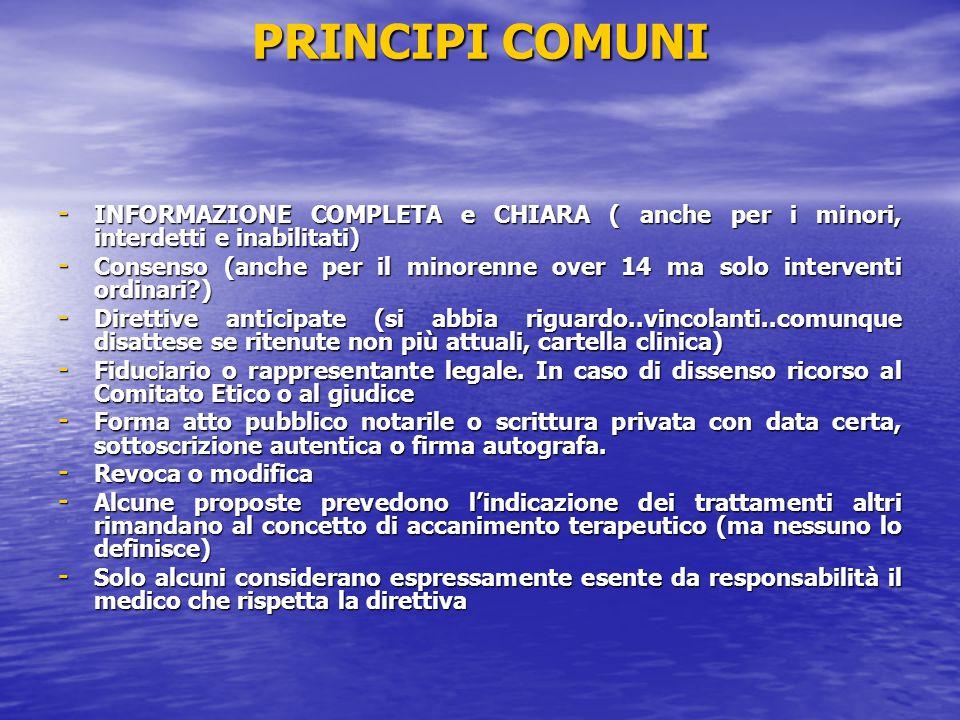 PRINCIPI COMUNI INFORMAZIONE COMPLETA e CHIARA ( anche per i minori, interdetti e inabilitati)
