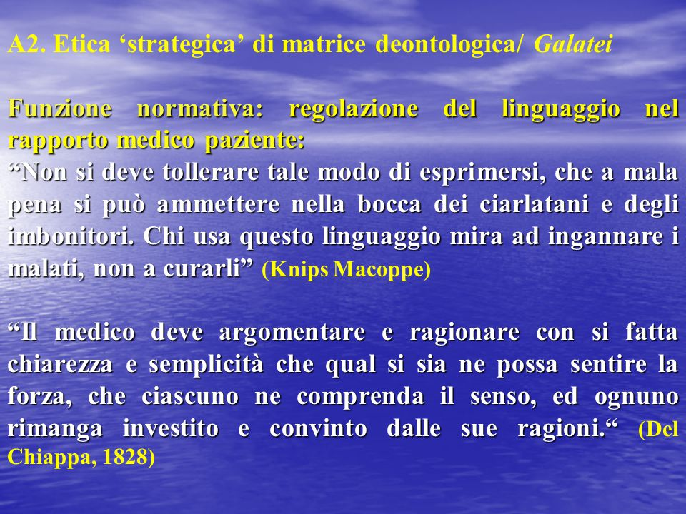A2. Etica 'strategica' di matrice deontologica/ Galatei
