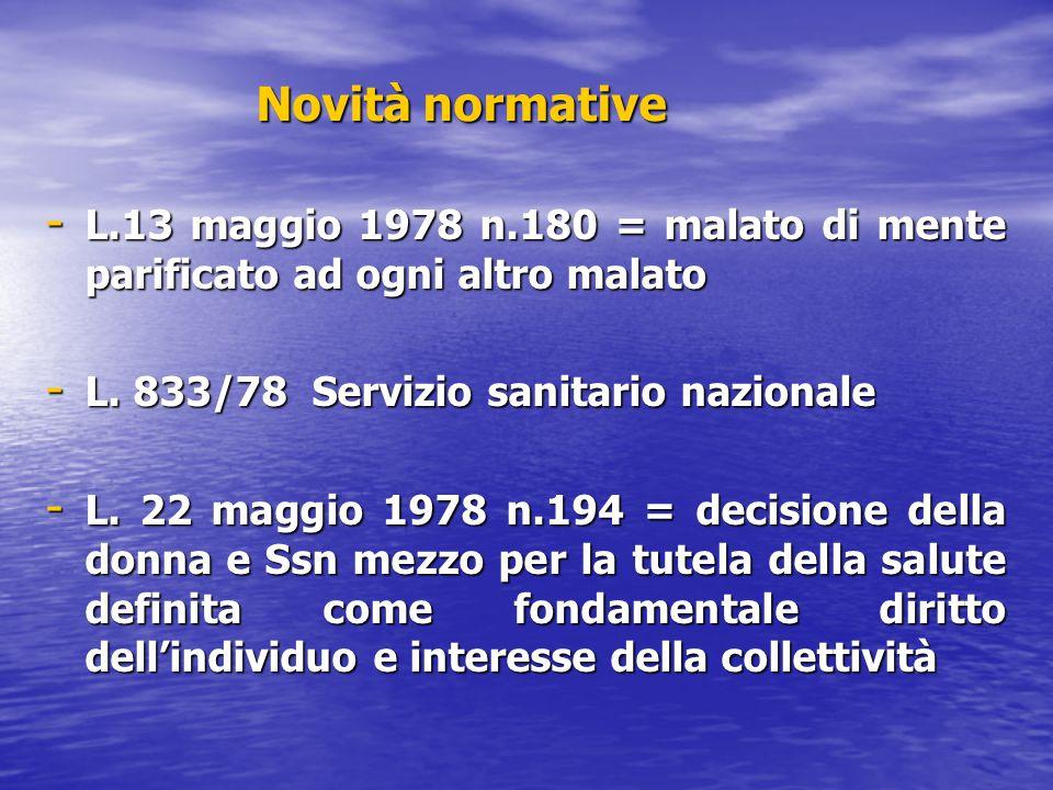 Novità normative L.13 maggio 1978 n.180 = malato di mente parificato ad ogni altro malato. L. 833/78 Servizio sanitario nazionale.