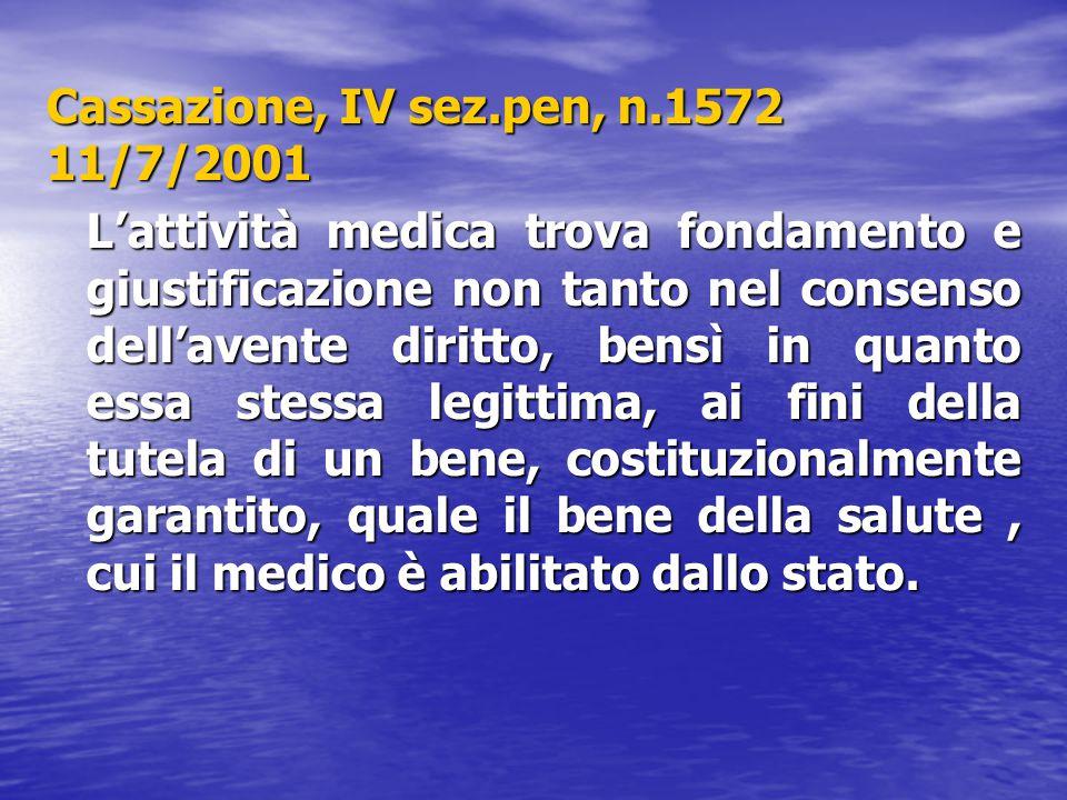 Cassazione, IV sez.pen, n.1572 11/7/2001