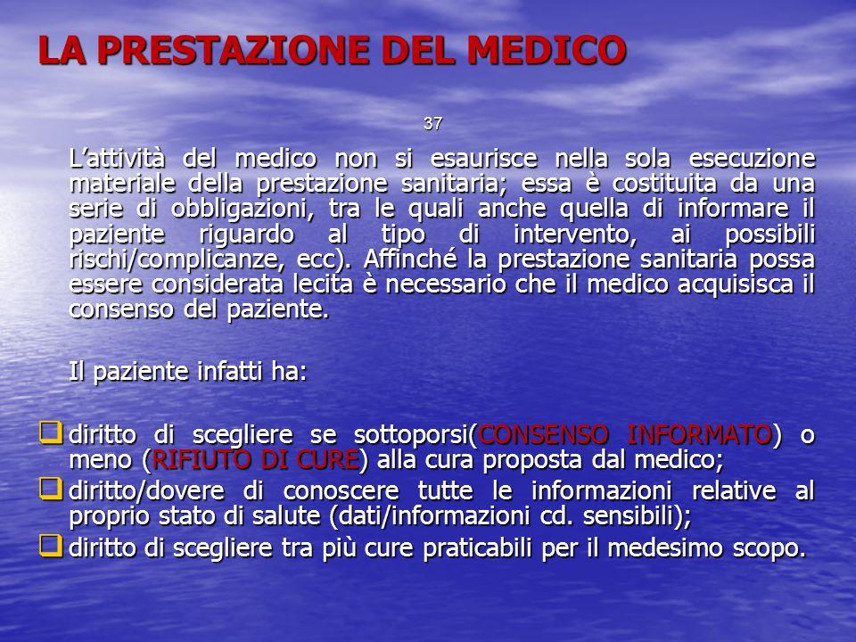 LA PRESTAZIONE DEL MEDICO