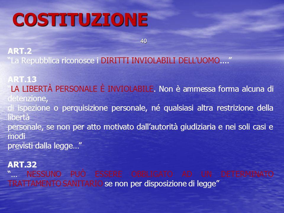 COSTITUZIONE ART.2. La Repubblica riconosce i DIRITTI INVIOLABILI DELL'UOMO.... ART.13.