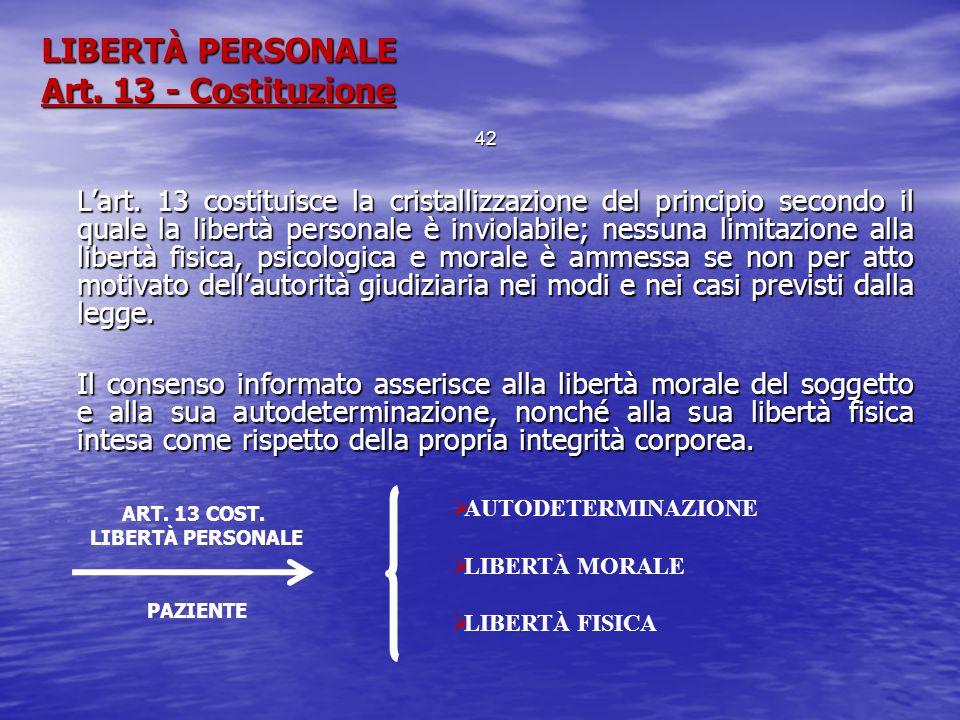 LIBERTÀ PERSONALE Art. 13 - Costituzione