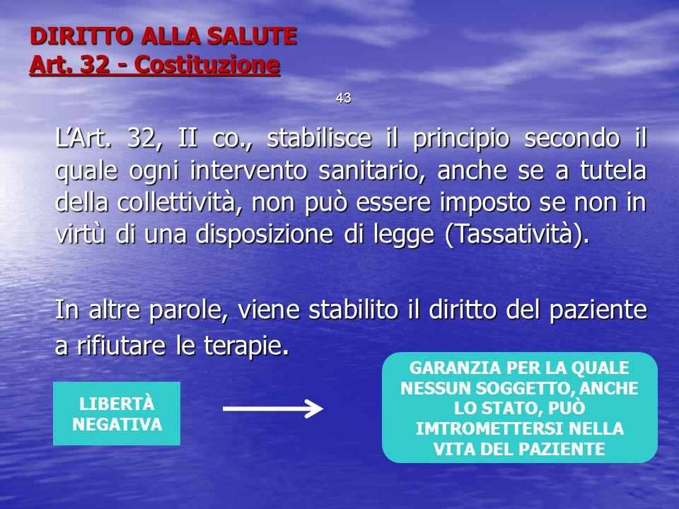 DIRITTO ALLA SALUTE Art. 32 - Costituzione