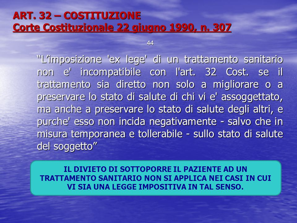 ART. 32 – COSTITUZIONE Corte Costituzionale 22 giugno 1990, n. 307