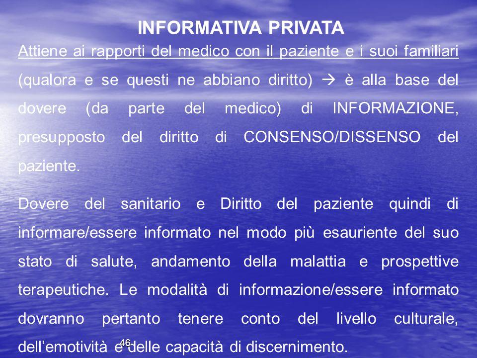 INFORMATIVA PRIVATA