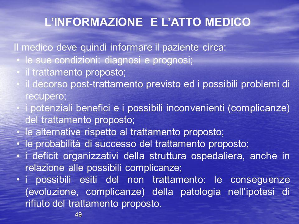L'INFORMAZIONE E L'ATTO MEDICO