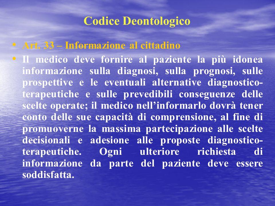 Codice Deontologico Art. 33 – Informazione al cittadino