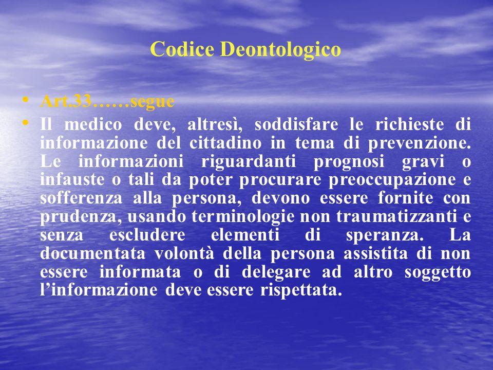 Codice Deontologico Art.33……segue