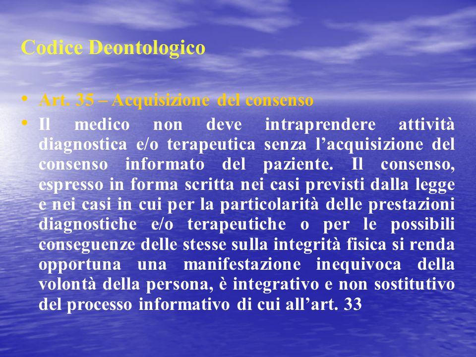 Codice Deontologico Art. 35 – Acquisizione del consenso