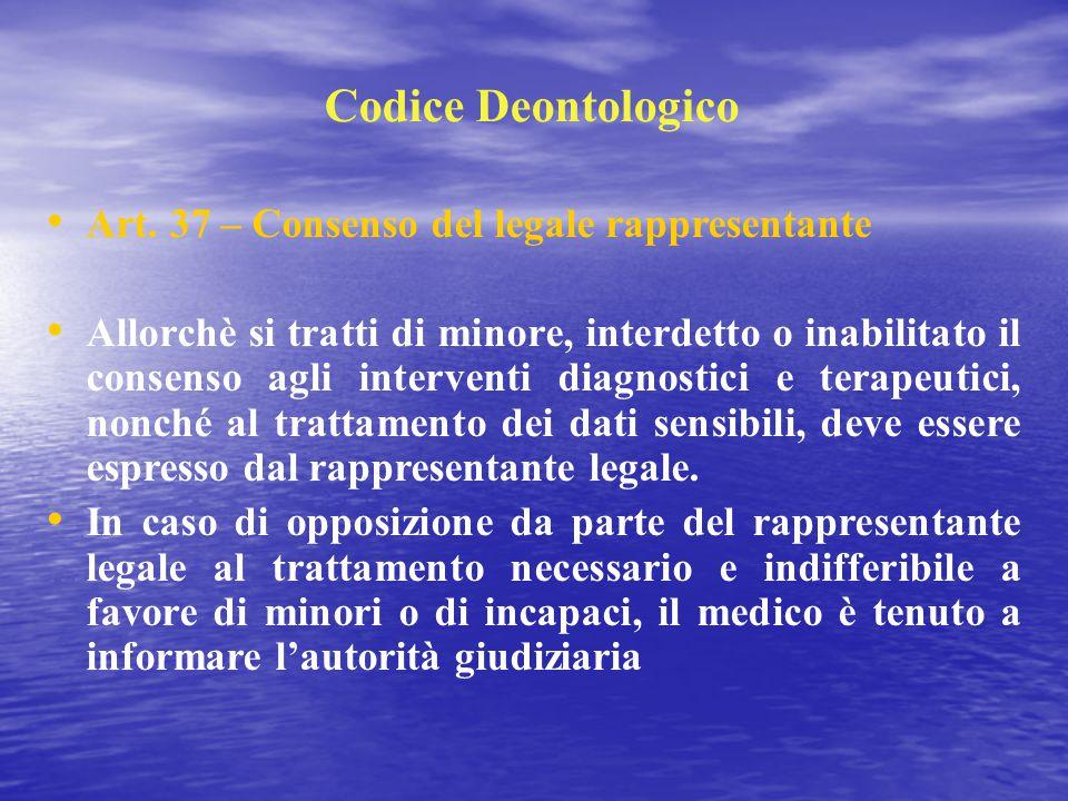Codice Deontologico Art. 37 – Consenso del legale rappresentante