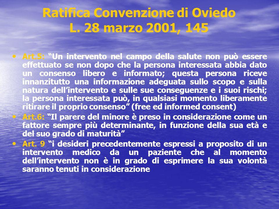 Ratifica Convenzione di Oviedo L. 28 marzo 2001, 145