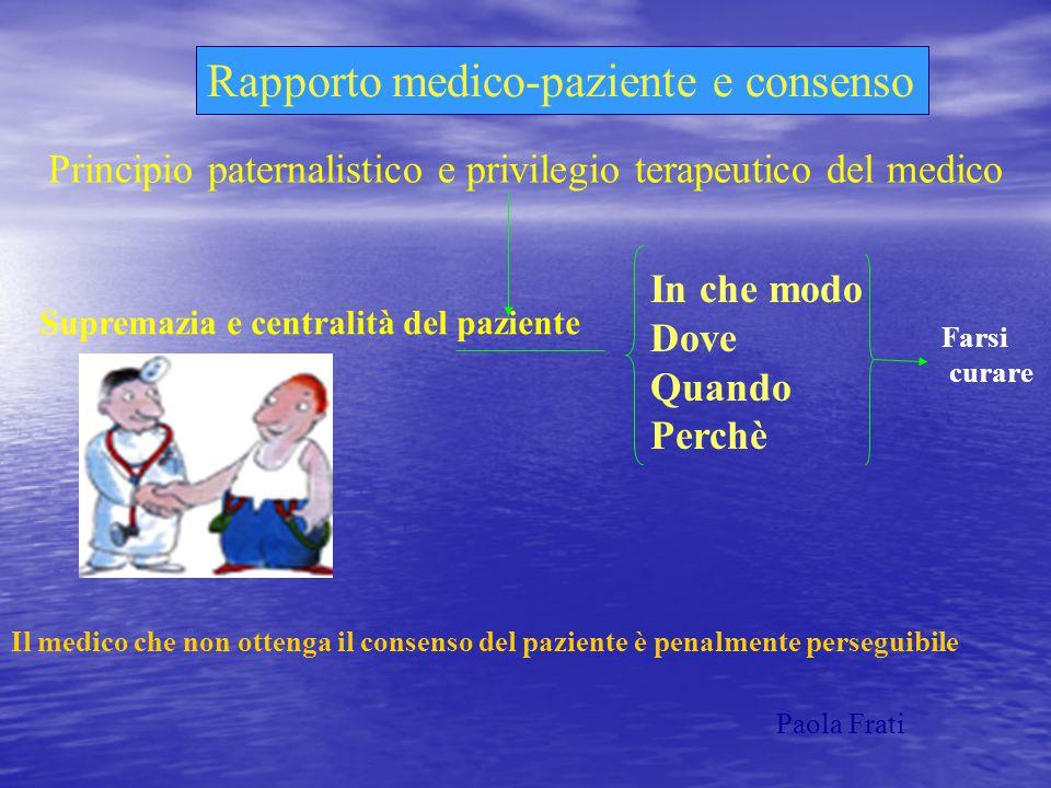 Rapporto medico-paziente e consenso