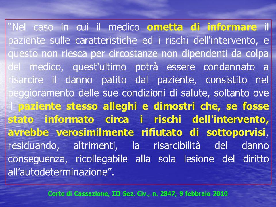 Corte di Cassazione, III Sez. Civ., n. 2847, 9 febbraio 2010