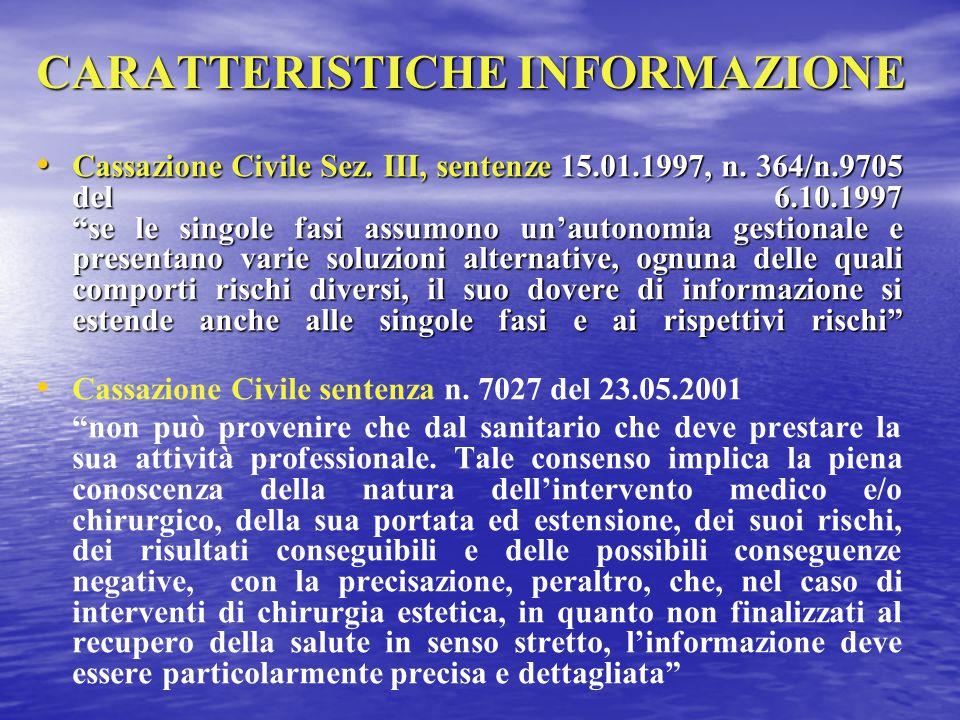 CARATTERISTICHE INFORMAZIONE