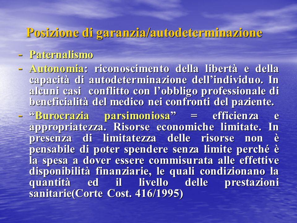 Posizione di garanzia/autodeterminazione