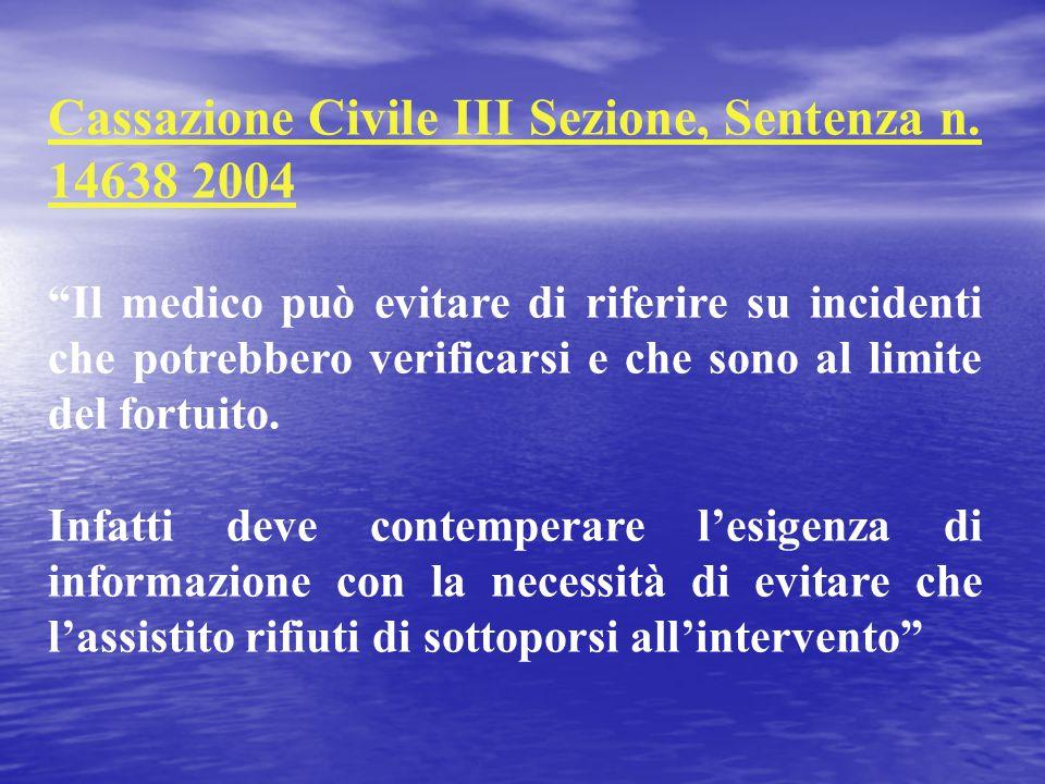 Cassazione Civile III Sezione, Sentenza n. 14638 2004