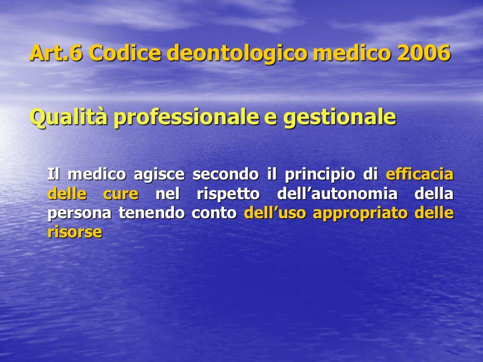 Art.6 Codice deontologico medico 2006