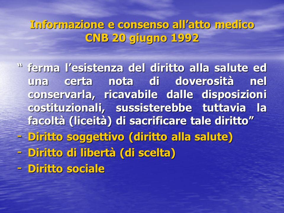 Informazione e consenso all'atto medico CNB 20 giugno 1992
