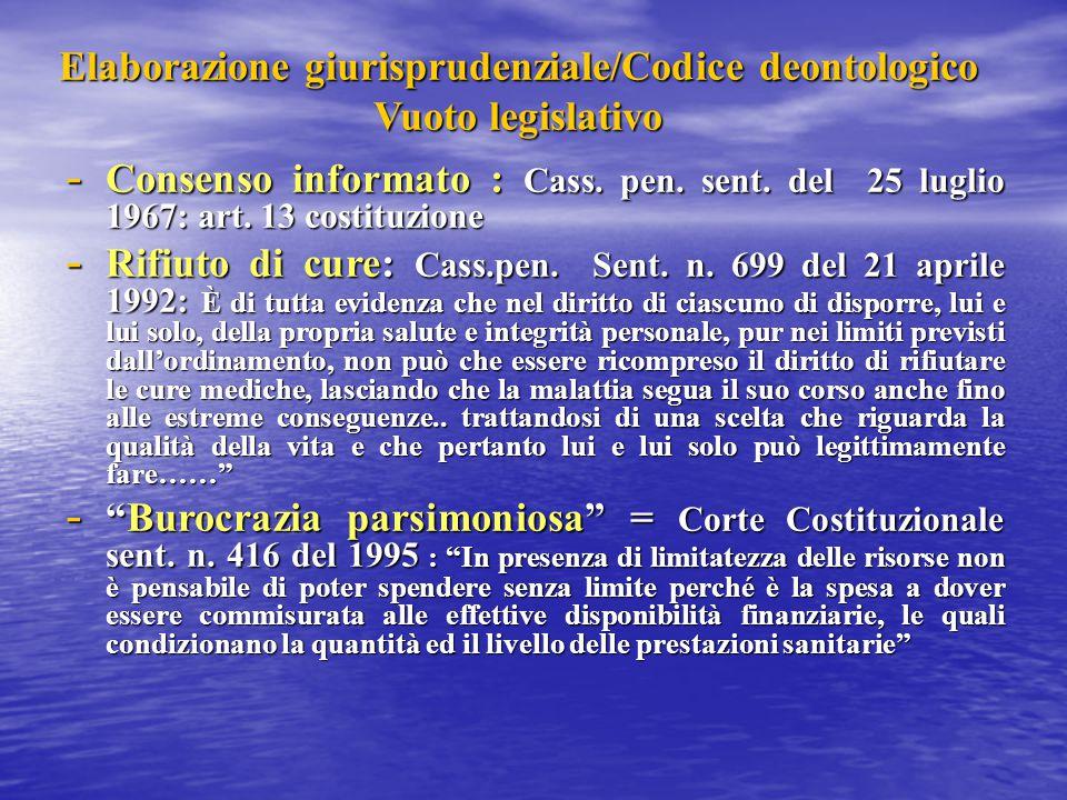 Elaborazione giurisprudenziale/Codice deontologico Vuoto legislativo