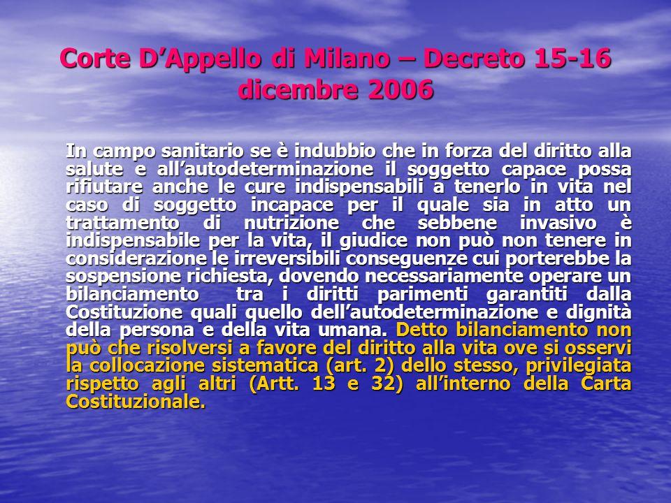 Corte D'Appello di Milano – Decreto 15-16 dicembre 2006