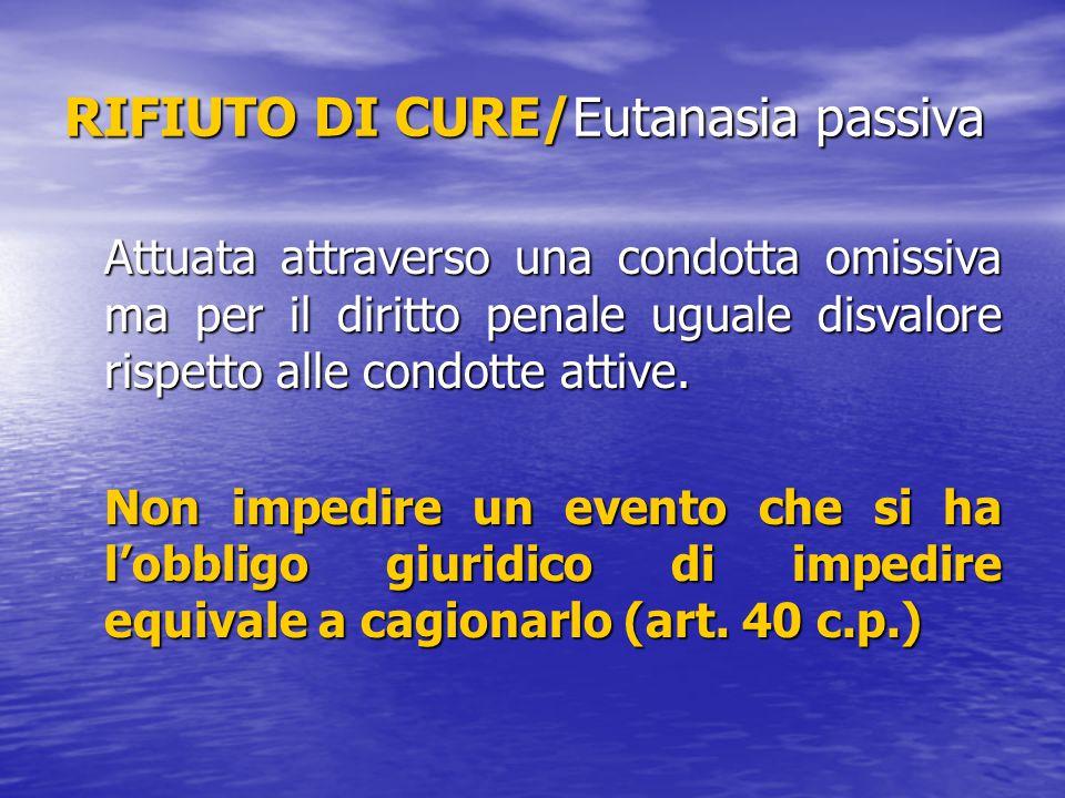 RIFIUTO DI CURE/Eutanasia passiva