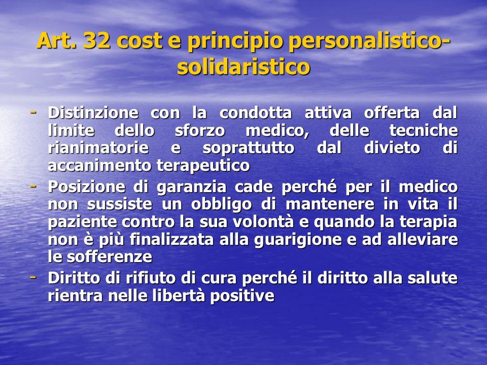 Art. 32 cost e principio personalistico-solidaristico