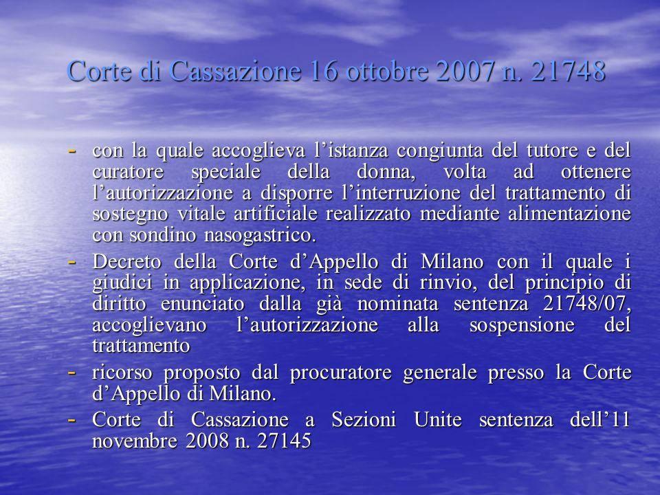 Corte di Cassazione 16 ottobre 2007 n. 21748