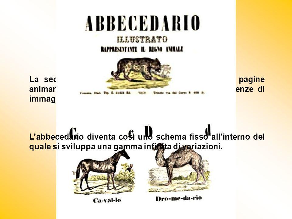 La sequenza delle lettere scandiva il ritmo delle pagine animando giochi di figure, brevi filastrocche, sequenze di immagini legate tra loro da un tema conduttore.