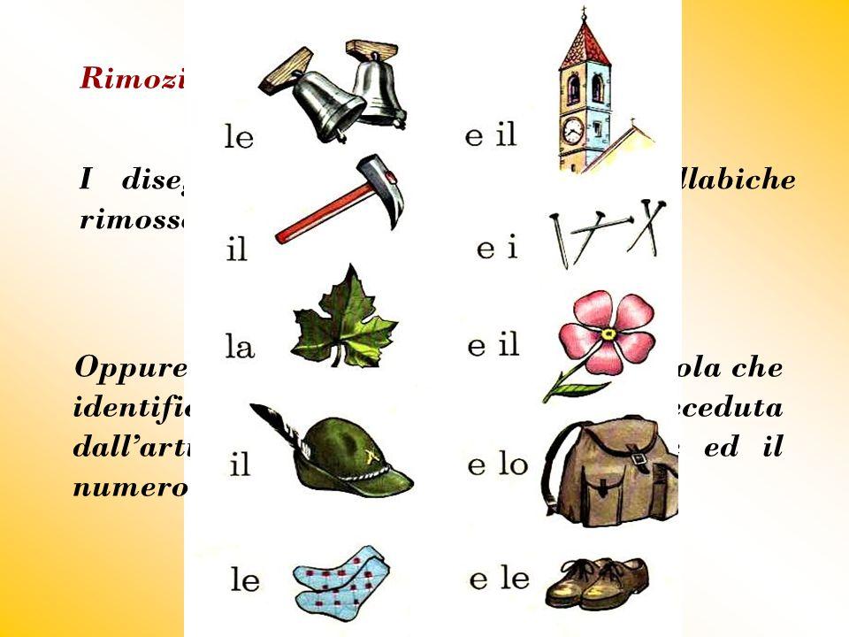 Rimozione I disegni suggeriscono le parti sillabiche rimosse delle parole relative ai soggetti.