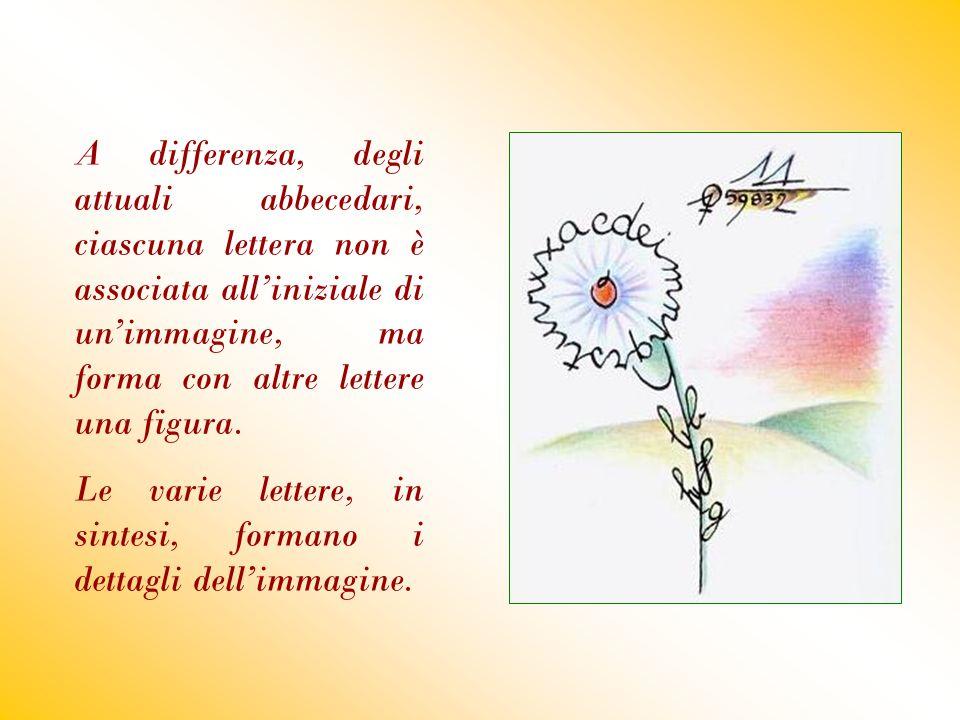 A differenza, degli attuali abbecedari, ciascuna lettera non è associata all'iniziale di un'immagine, ma forma con altre lettere una figura.