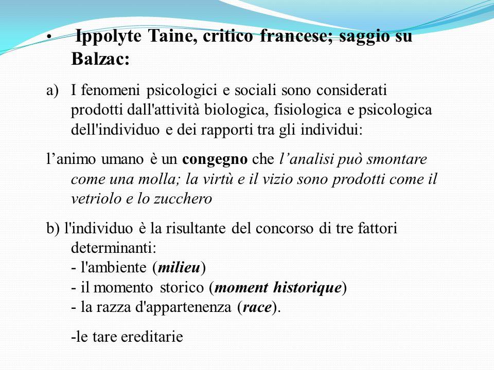 Ippolyte Taine, critico francese; saggio su Balzac: