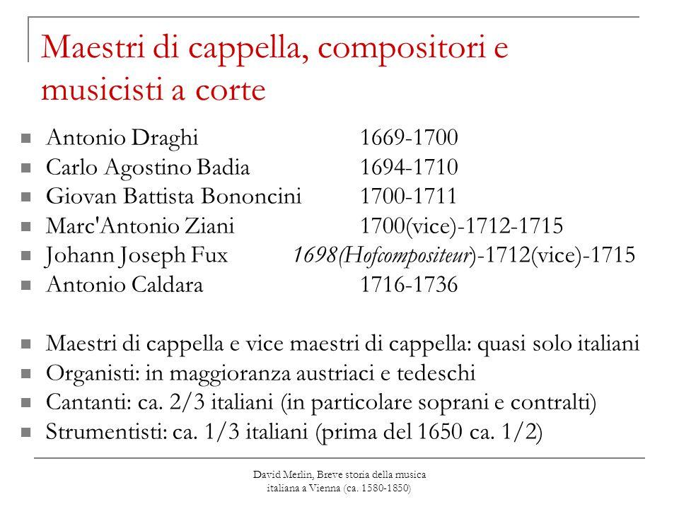 Maestri di cappella, compositori e musicisti a corte