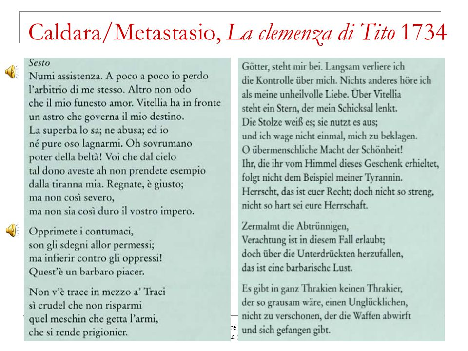 Caldara/Metastasio, La clemenza di Tito 1734