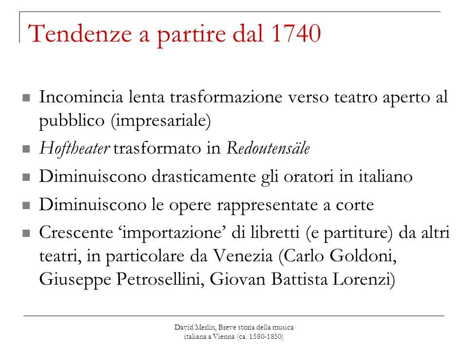 Tendenze a partire dal 1740 Incomincia lenta trasformazione verso teatro aperto al pubblico (impresariale)