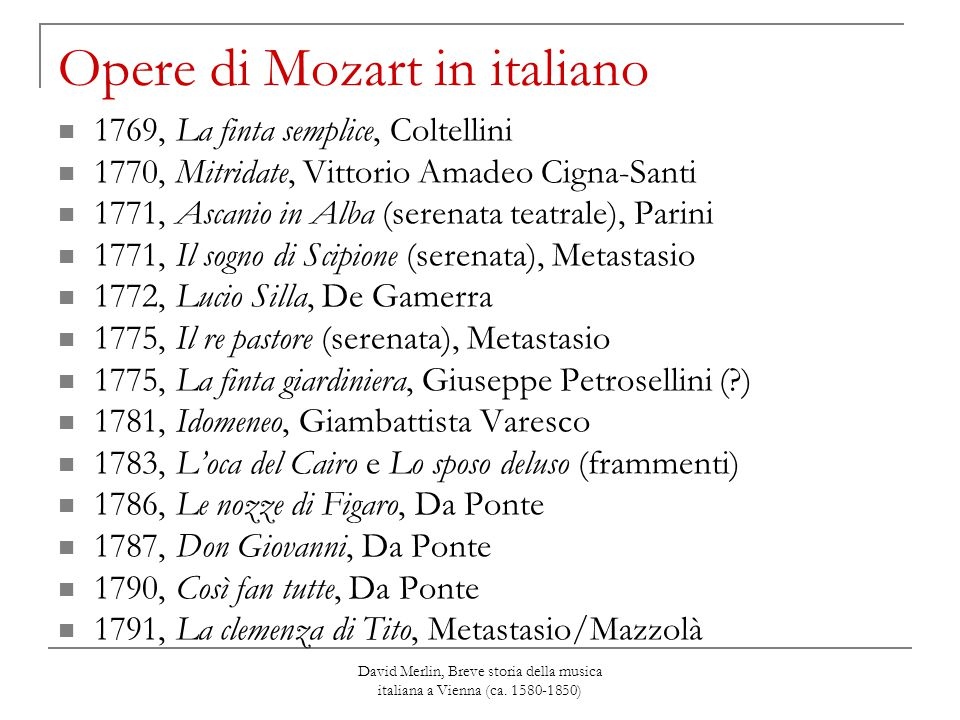 Opere di Mozart in italiano