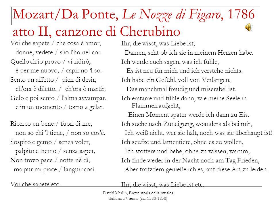 Mozart/Da Ponte, Le Nozze di Figaro, 1786 atto II, canzone di Cherubino