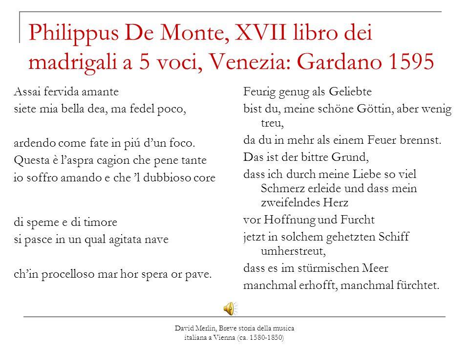 Philippus De Monte, XVII libro dei madrigali a 5 voci, Venezia: Gardano 1595