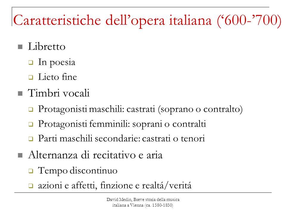 Caratteristiche dell'opera italiana ('600-'700)