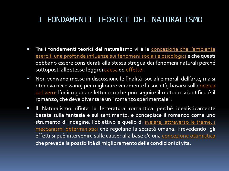I FONDAMENTI TEORICI DEL NATURALISMO
