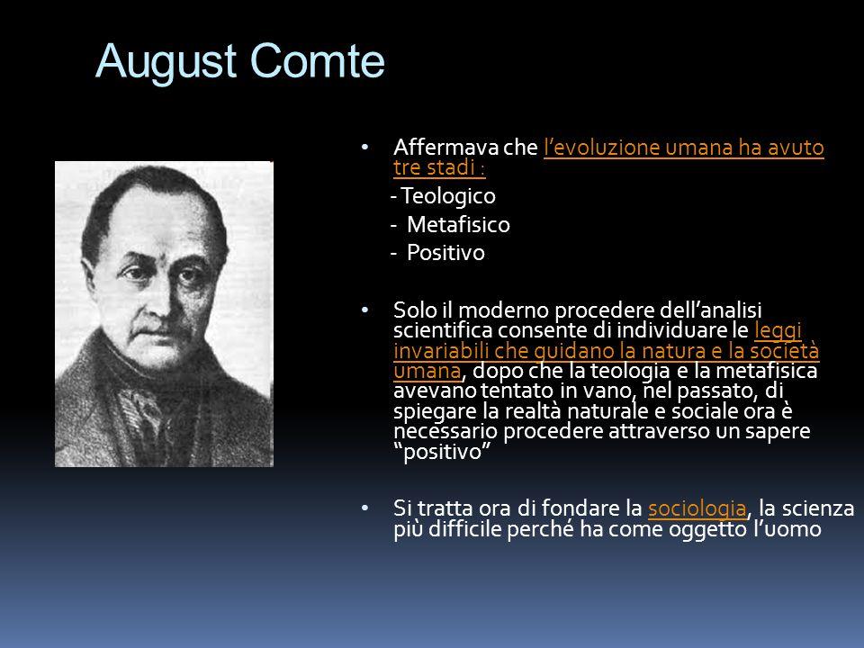 August Comte Affermava che l'evoluzione umana ha avuto tre stadi :