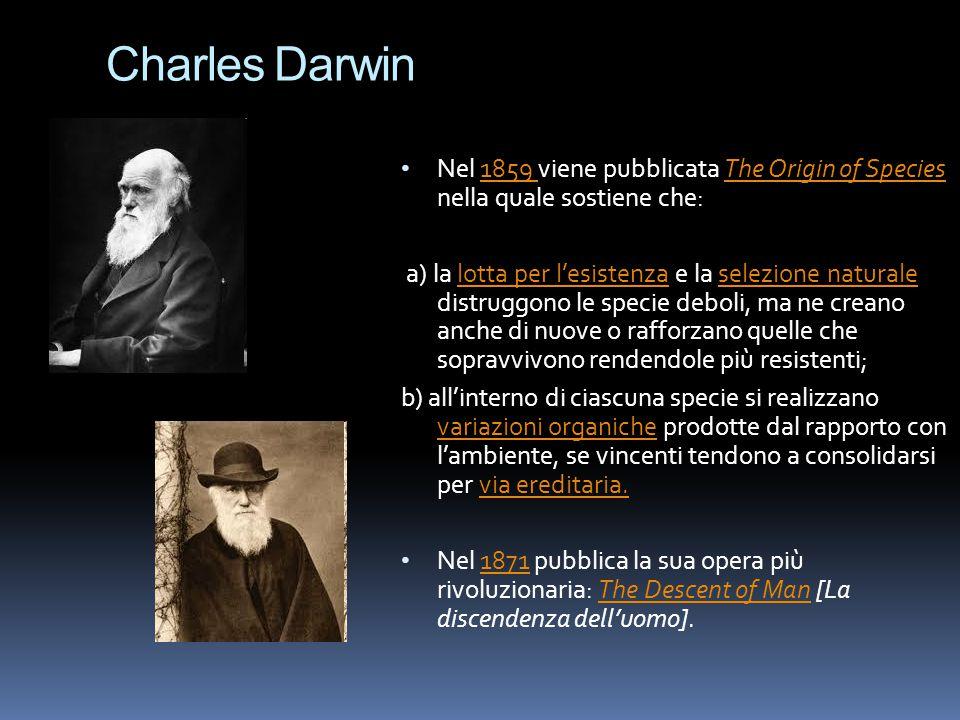 Charles Darwin Nel 1859 viene pubblicata The Origin of Species nella quale sostiene che: