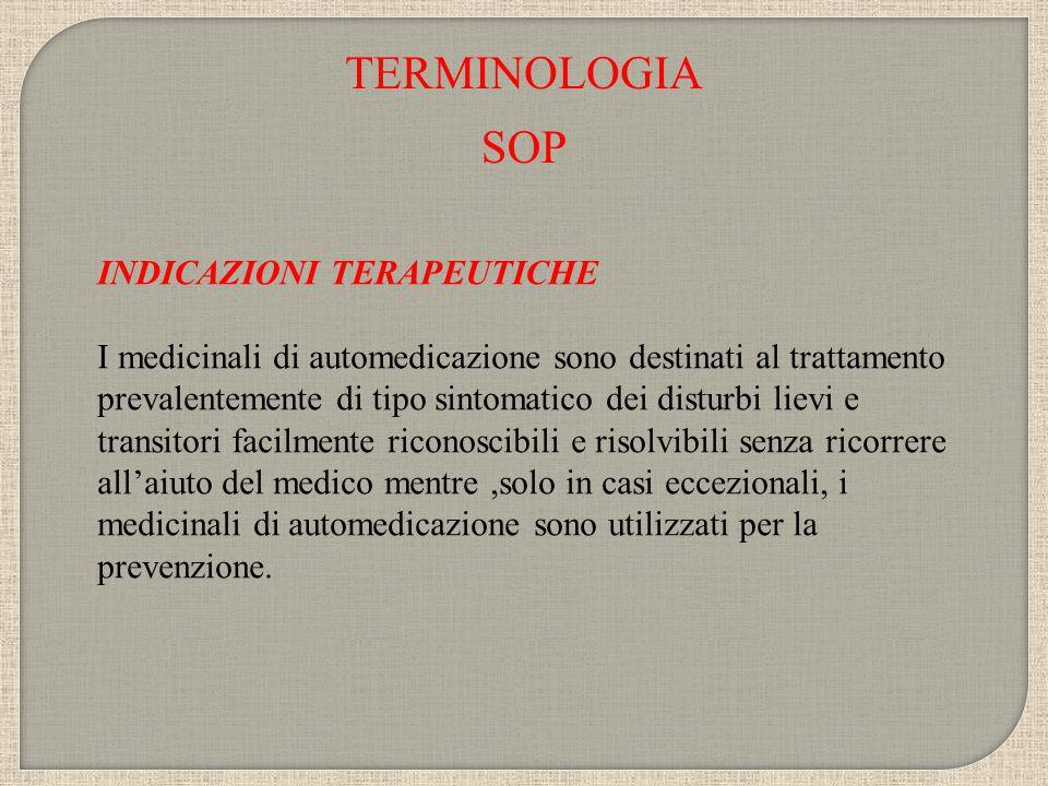 TERMINOLOGIA SOP INDICAZIONI TERAPEUTICHE