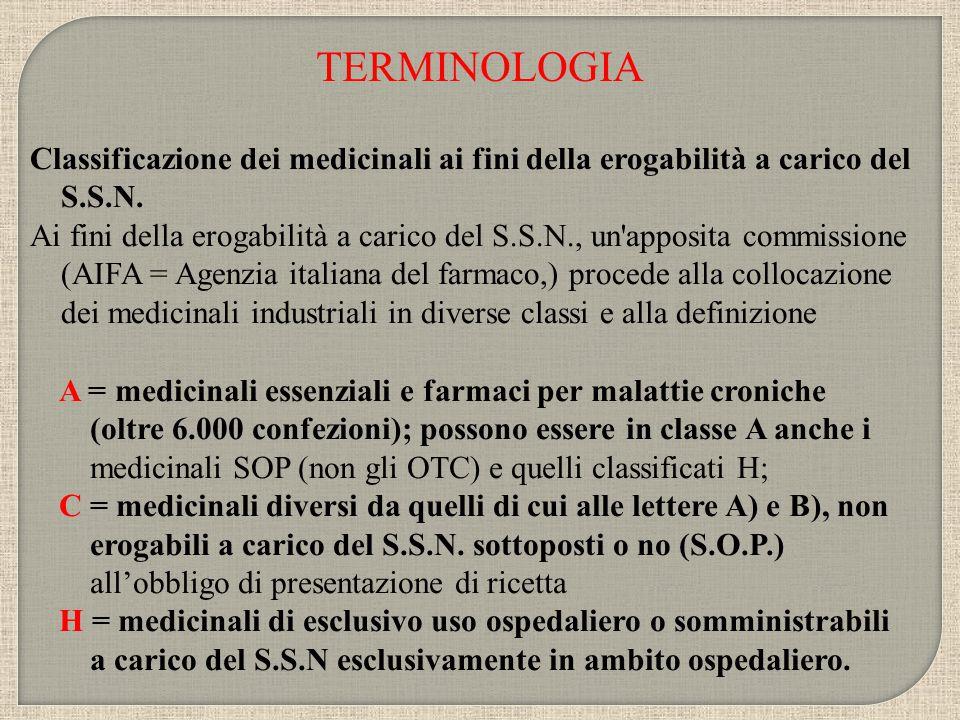 TERMINOLOGIA Classificazione dei medicinali ai fini della erogabilità a carico del S.S.N.