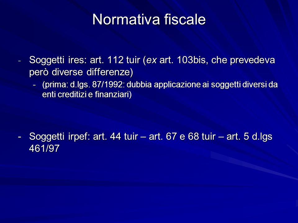 Normativa fiscale Soggetti ires: art. 112 tuir (ex art. 103bis, che prevedeva però diverse differenze)