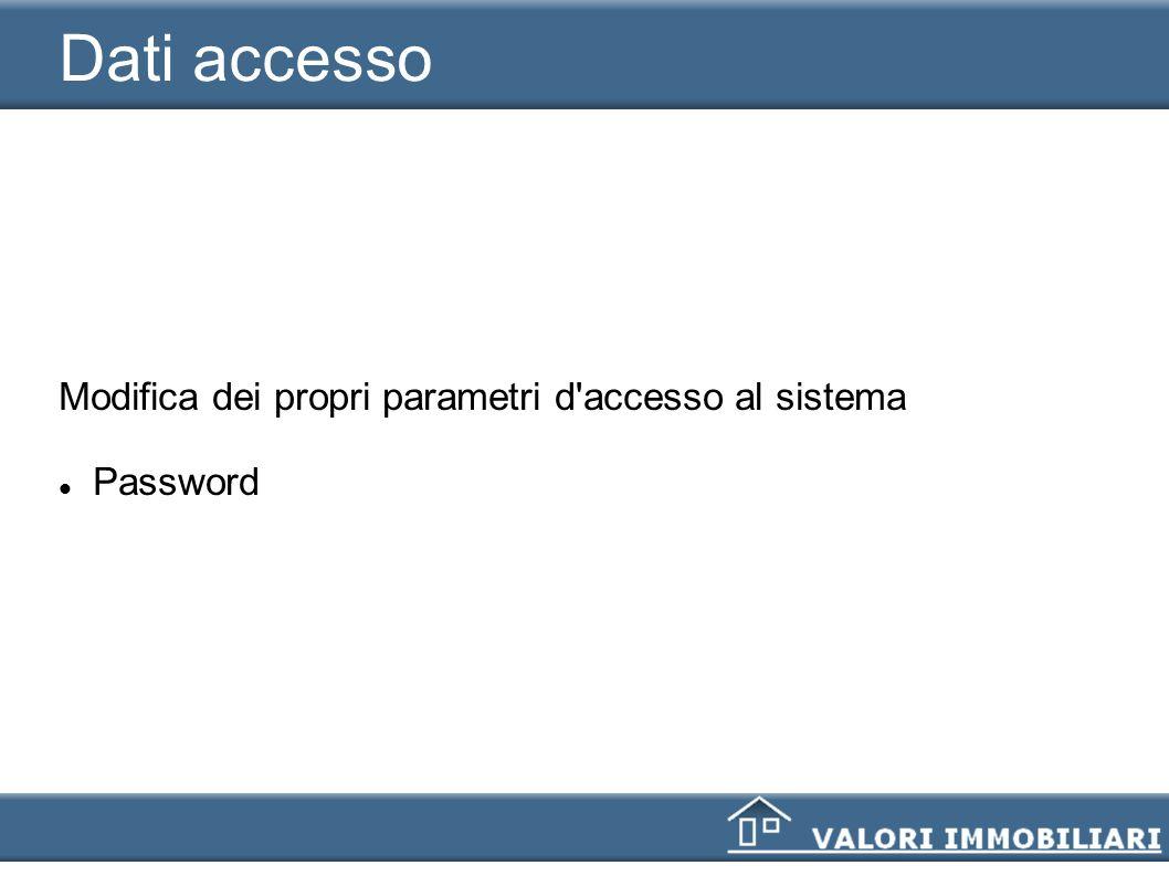 Dati accesso Modifica dei propri parametri d accesso al sistema
