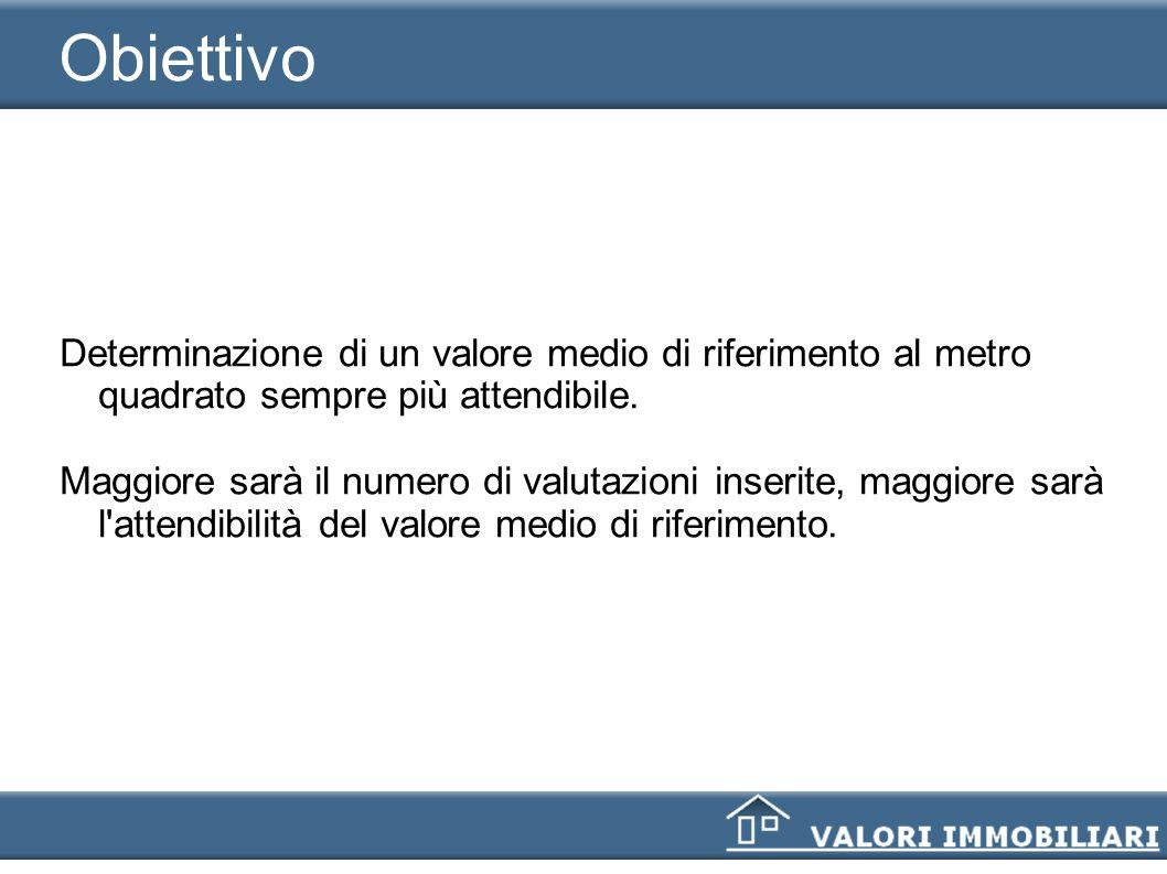 ObiettivoDeterminazione di un valore medio di riferimento al metro quadrato sempre più attendibile.
