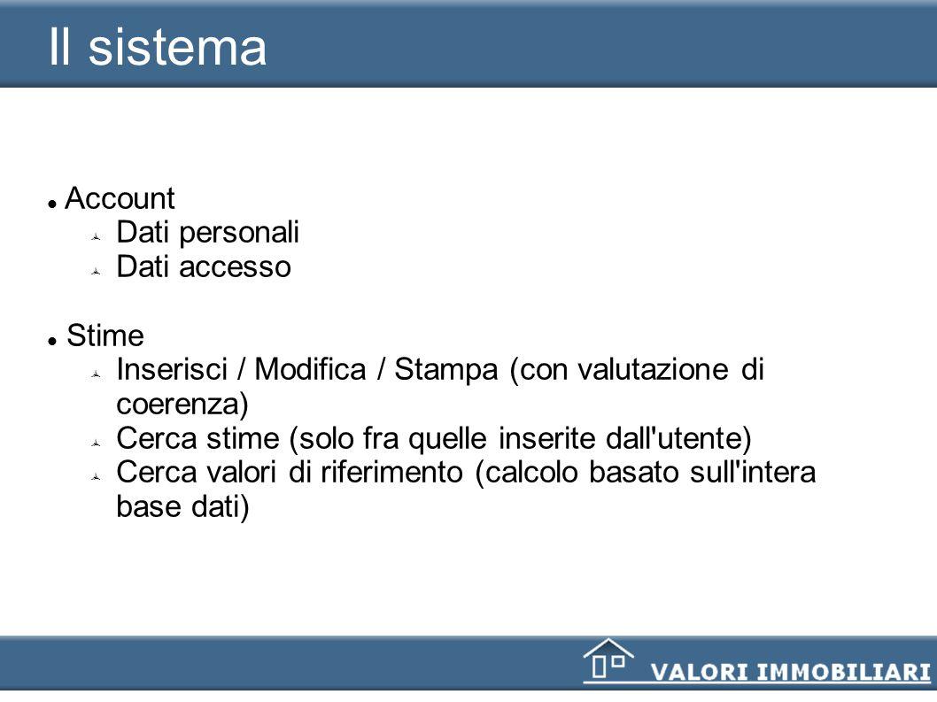 Il sistema Account Dati personali Dati accesso Stime